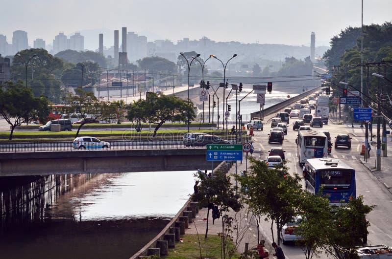 Tiete河在圣保罗,巴西 库存图片