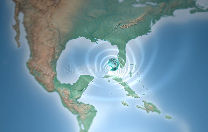 Tifón del tornado del huracán en el Golfo de México que amenaza a la Florida libre illustration