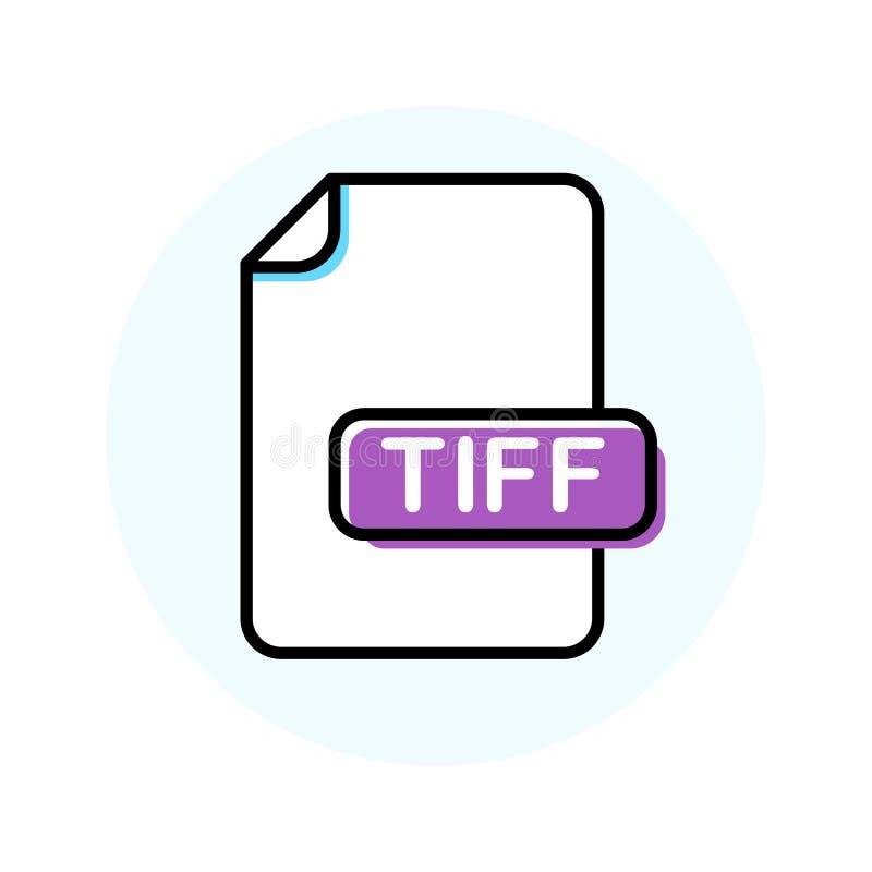 TIFF file format, extension color line icon vector illustration