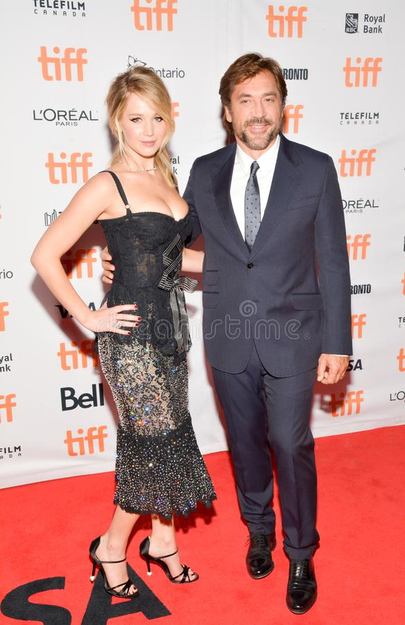 TIFF2017 Jennifer Lawrence and Javier Bardem at `Mother` Premiere at Toronto International Film Festival. Javier Bardem and Jennifer Lawrence at the Toronto royalty free stock photo