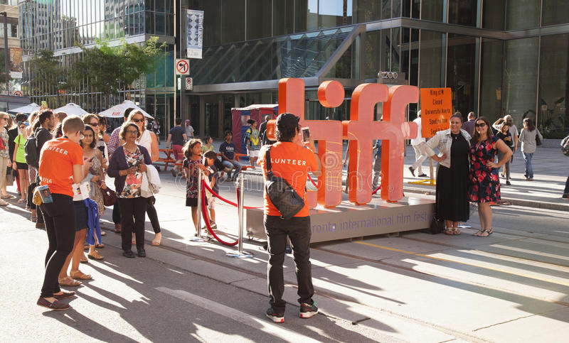 Tiff,toronto international film festival. TORONTO - SEPTEMBER 15, 2016: The TIFF, or Toronto International Film Festival draws many people to watch premiere stock photo
