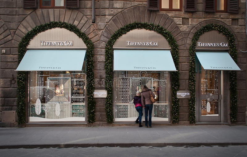 tiffany美国co公司珠宝的银器 商店在佛罗伦萨 免版税库存图片