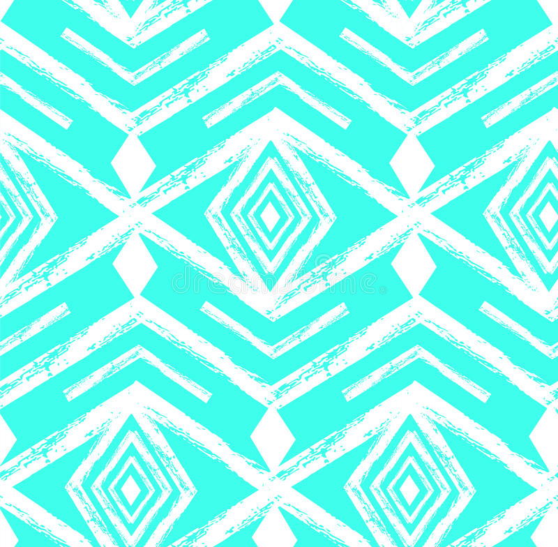 Tiffany blue colored tribal Navajo vector seamless pattern withfreehand texture.Aztec abstract geometric art print royalty free illustration