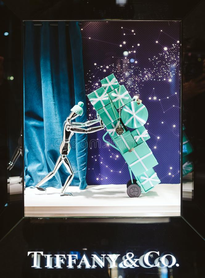 Tiffany & Co. luxury shopping store window facade ready for Christmas winter holidays royalty free stock photo
