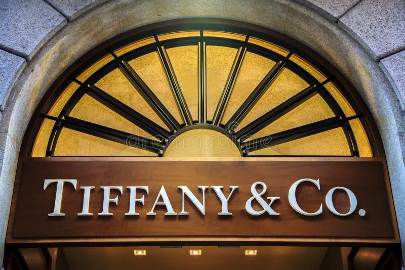 Tiffany & co shop in Milan stock photo
