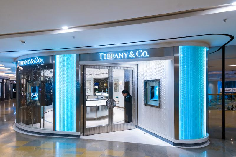 Tiffany and Company boutigue in Pacific Place shopping mall, Hong Kong stock foto's
