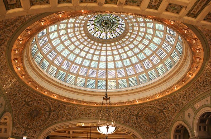 Tiffany Dome, centro culturale di Chicago, Chicago fotografia stock libera da diritti