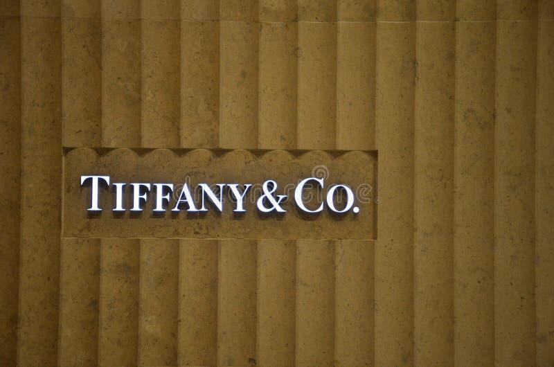Tiffany et la Cie dans un du bâtiment de casino dans Macao image libre de droits