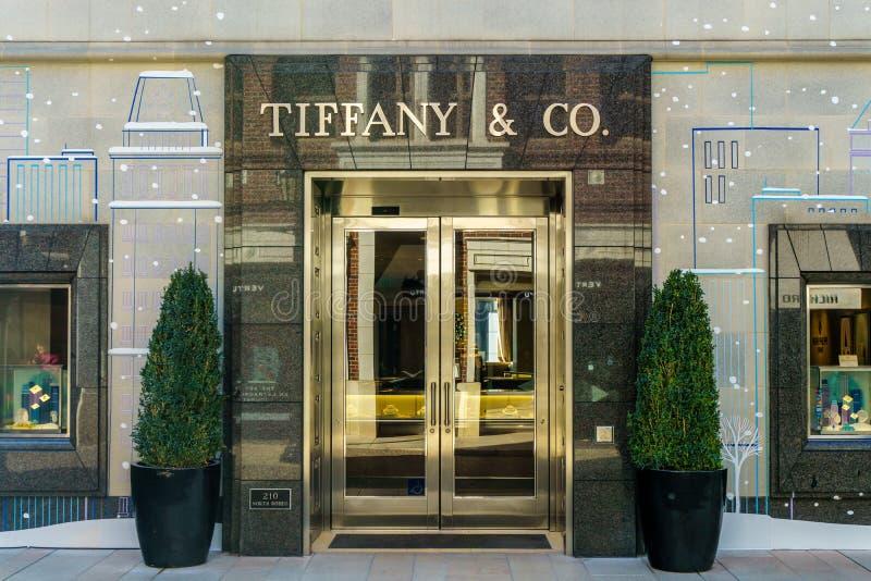 Tiffany & Företag detaljistyttersida fotografering för bildbyråer