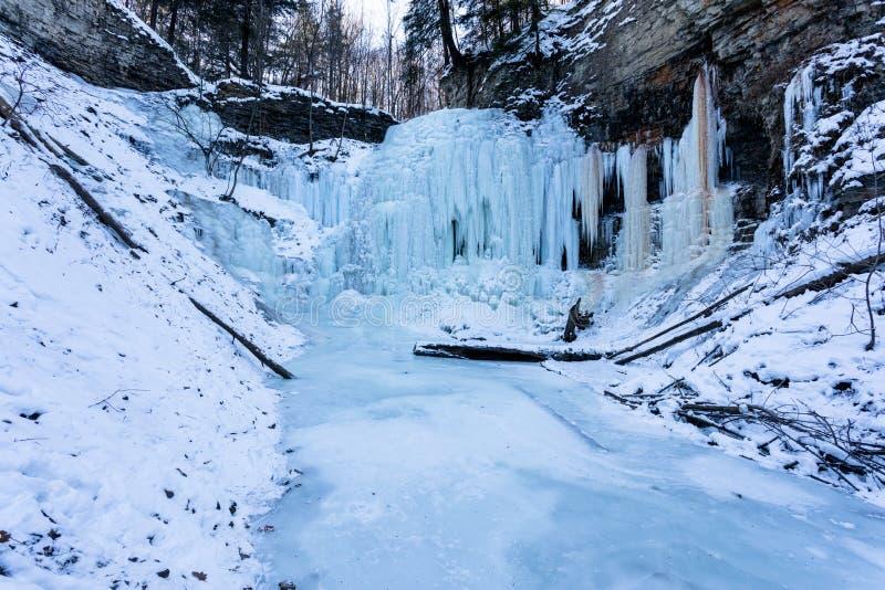 Tiffany Falls in de winter over wordt bevroren die stock fotografie