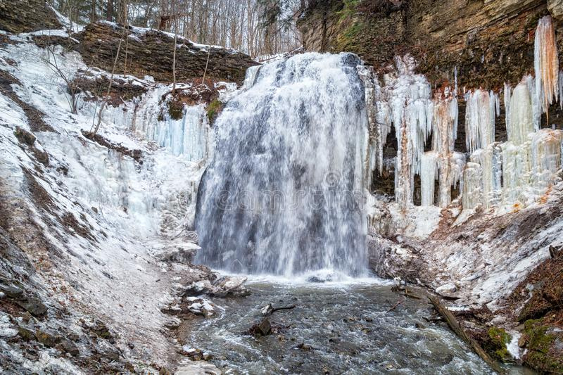 Tiffany Falls in Hamilton, Ontario in winter royalty free stock images