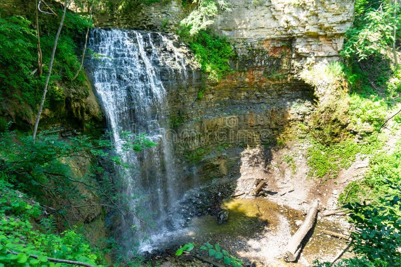 Tiffany falls in the summer, Hamilton, Ontario Canada. Tiffany falls in Hamilton, Ontario Canada summertime view from above royalty free stock image