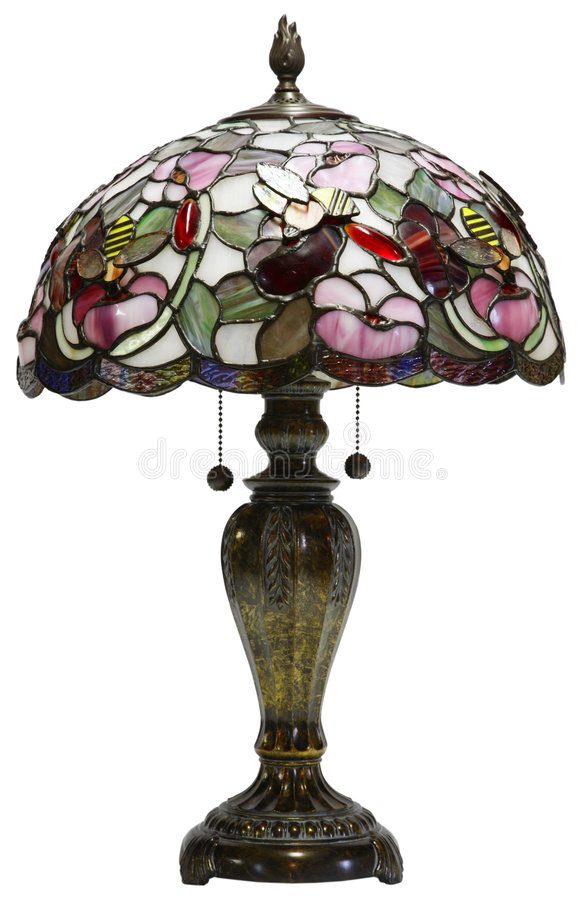 Tiffany-Glastabellen-Lampe stockfotos