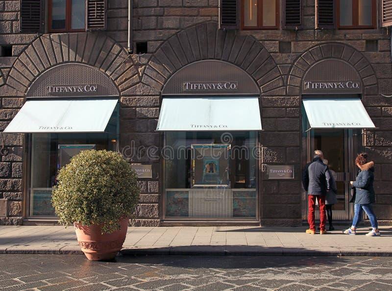 Tiffany Jewellery sklep detaliczny w centrum Florencja, Włochy fotografia royalty free