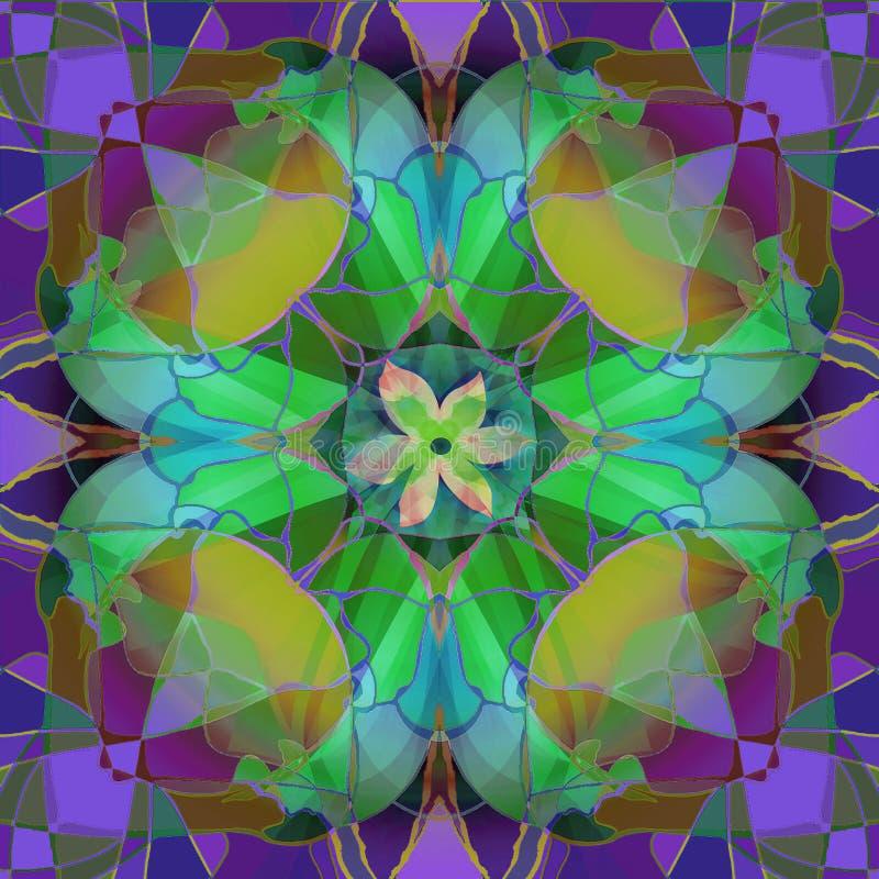 TIFFANY purpury, złoto I ZIELONY kwiat W ABSTRAKCJONISTYCZNYM tle Z ŚRODKOWYM kwiatem, ilustracji