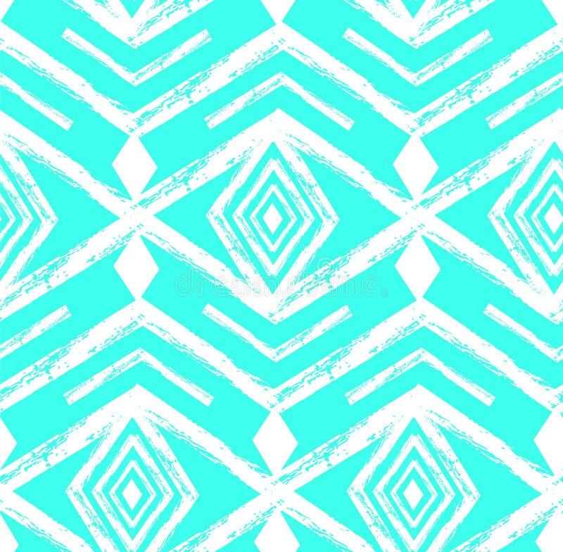 Tiffany slösar textur för withfreehand för modell för kulör stam- Navajovektor sömlös Abstrakt geometriskt konsttryck för Aztec royaltyfri illustrationer
