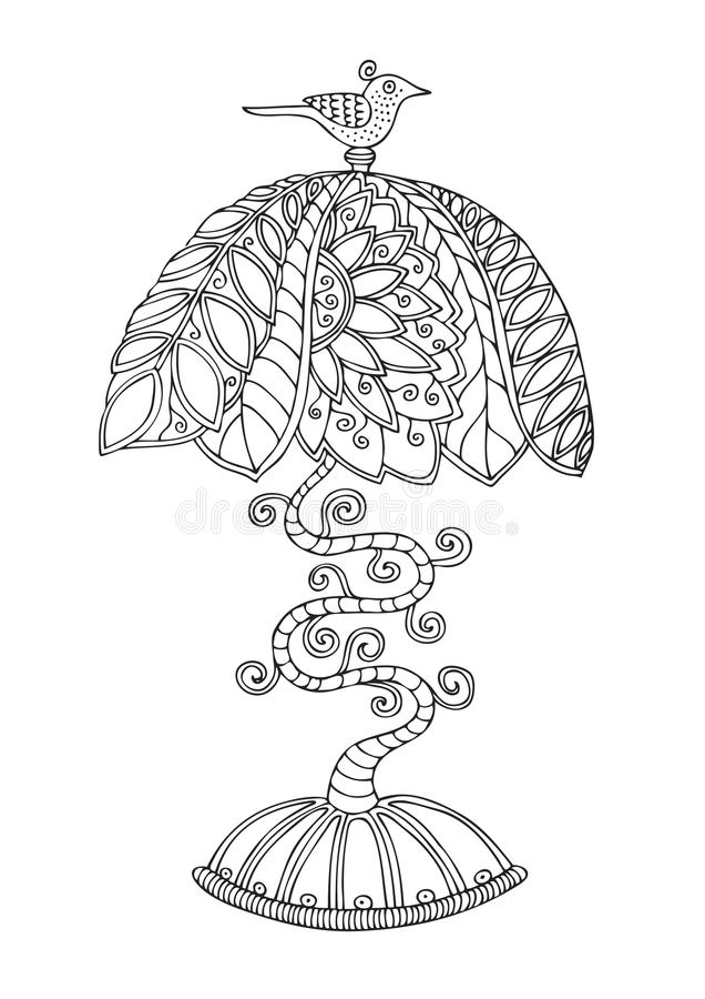 Tiffany style lamp. Illustration for adult coloring book. vector illustration