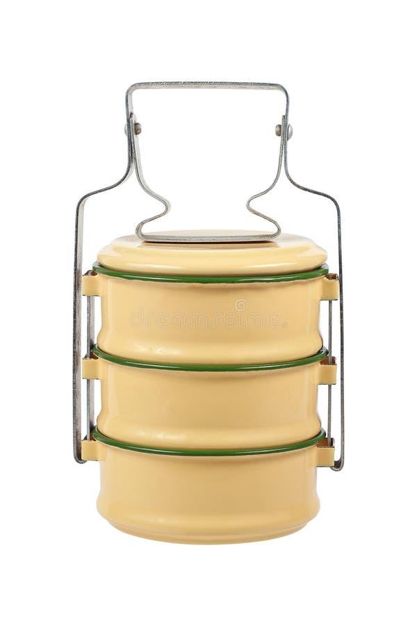 tiffin εμπορευματοκιβώτιο κιβωτίων ή τροφίμων που απομονώνεται στο λευκό στοκ φωτογραφία με δικαίωμα ελεύθερης χρήσης