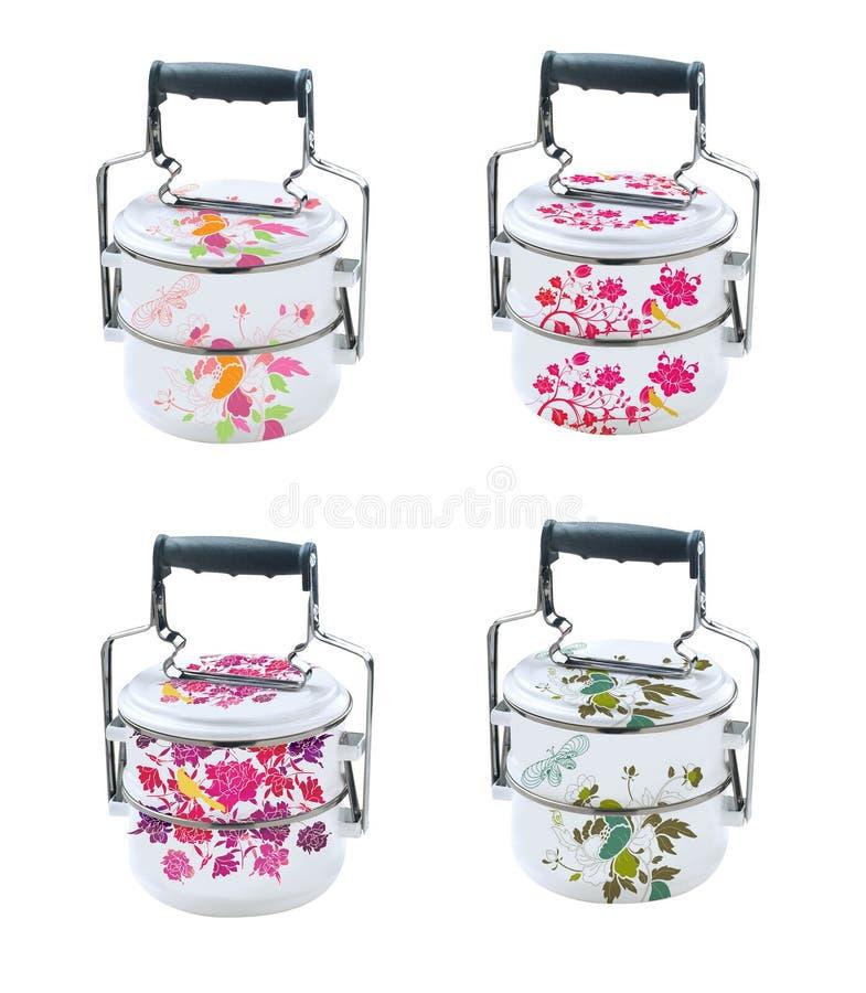 Tiffin Metall Tiffin, matbehållare på vit bakgrund royaltyfri foto