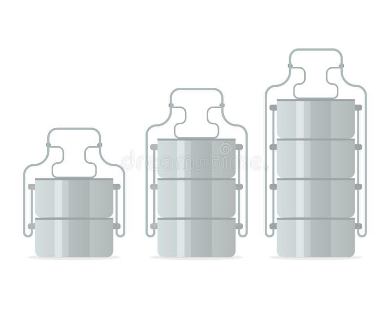 Tiffin-Speisenträger-Ikonensatz stock abbildung