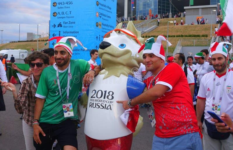 Tifosi della squadra nazionale iraniana dopo la partita della coppa del Mondo 2018 immagini stock libere da diritti