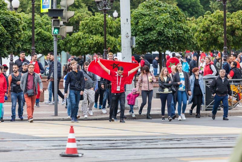 Tifosi marocchini prima della partita con la Spagna immagine stock