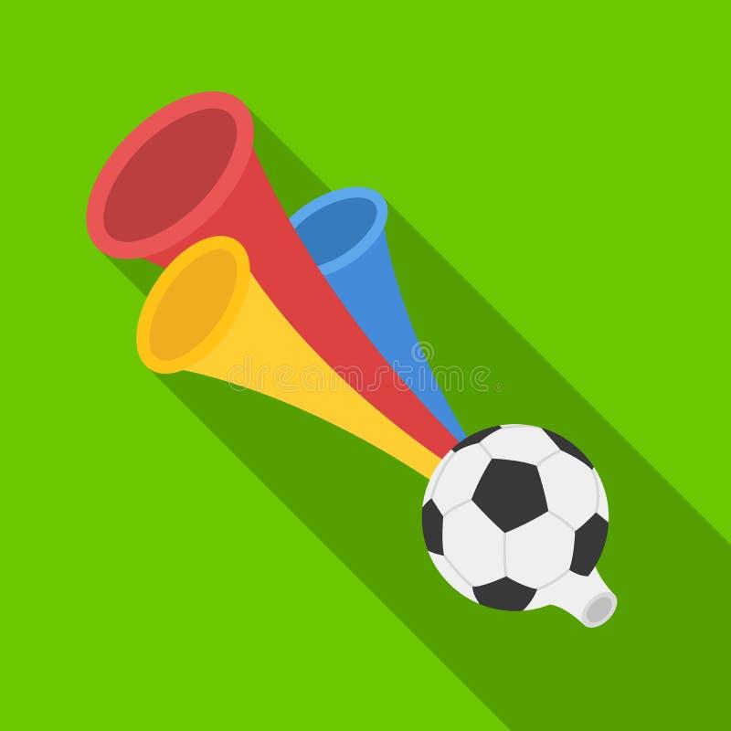 Tifoso della tromba Singola icona di fan nell'illustrazione piana delle azione di simbolo di vettore di stile illustrazione di stock