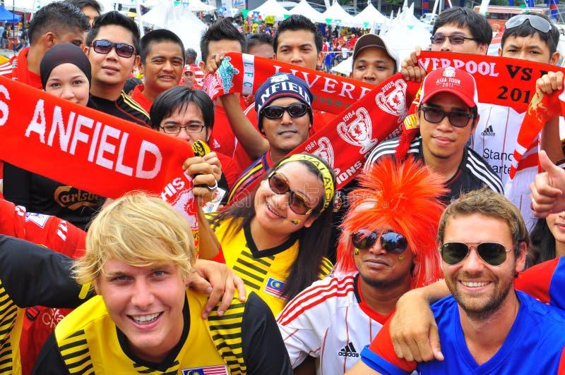 Tifoso di Liverpool e della Malesia fotografie stock