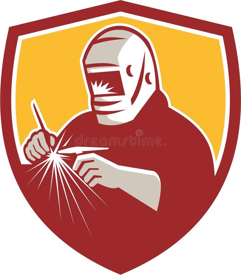 Tig Welder Welding Crest Retro royaltyfri illustrationer