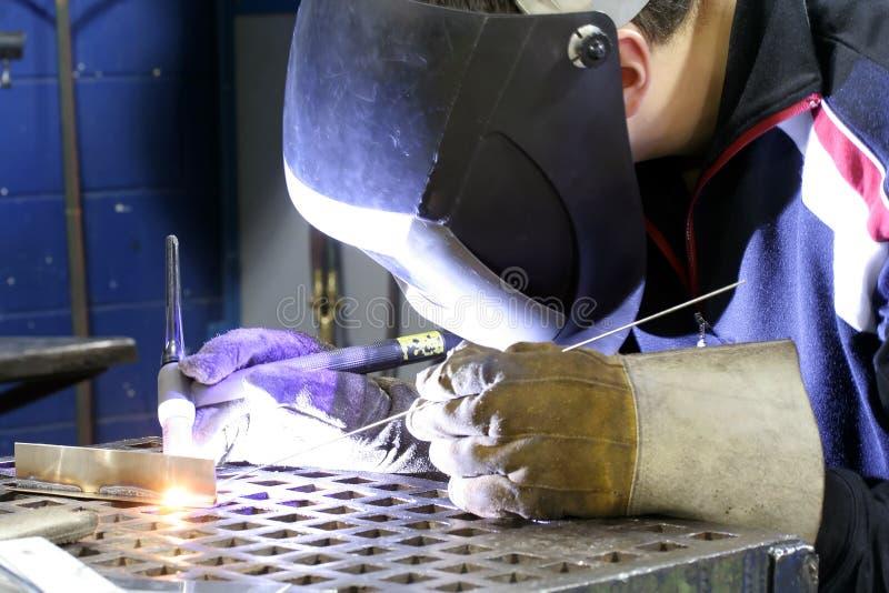 Tig Welding. Tungsten inert Gas welder at work stock image
