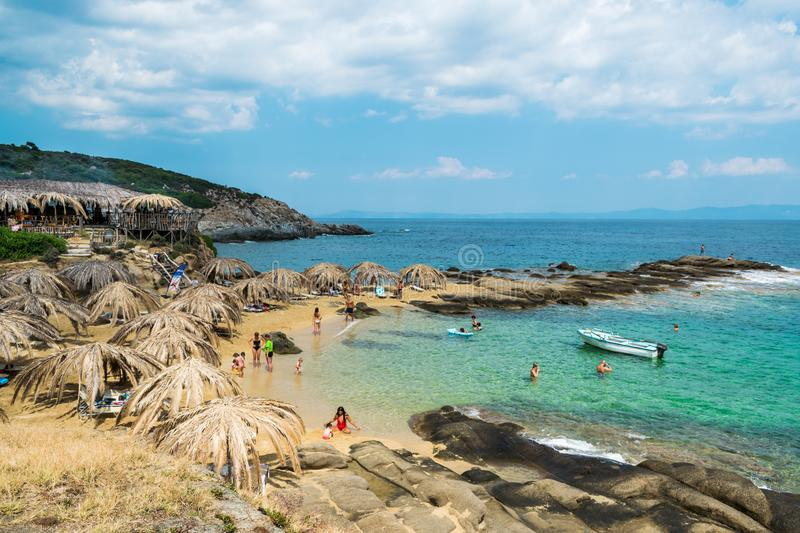 Tigania beach in Sitonia region in Greece royalty free stock images