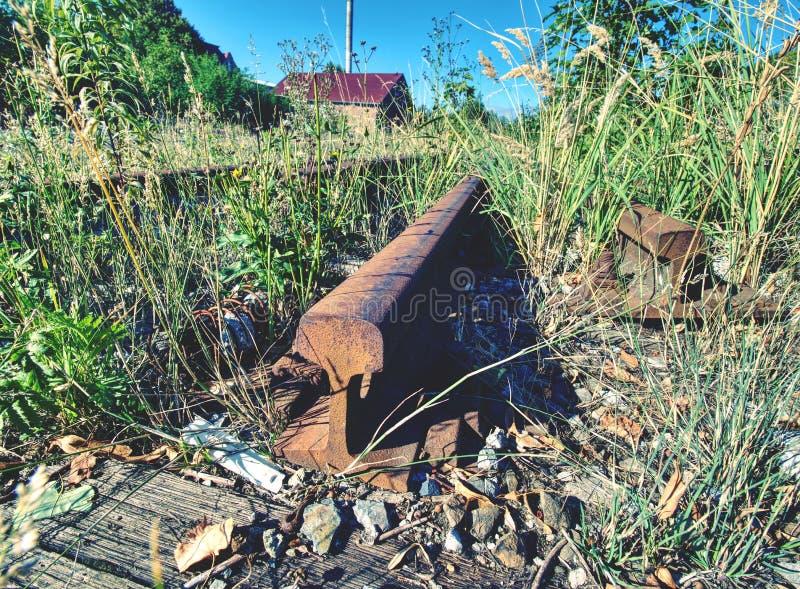 Tige de rail de coupe de torche d'Autogen sur le dormeur en bois putréfié Réparation de tramway photos libres de droits