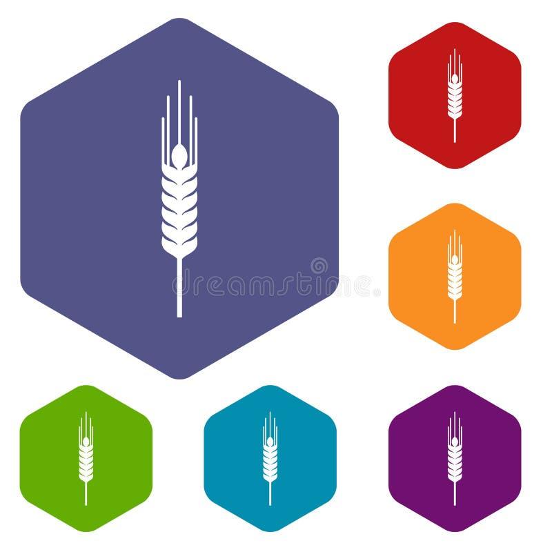 Tige des icônes mûres d'orge réglées illustration de vecteur