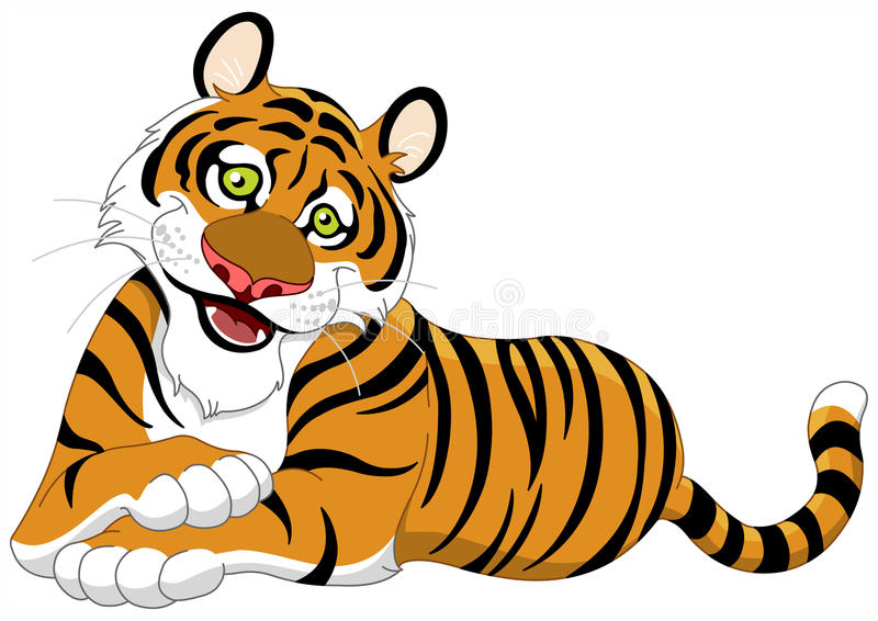 Tiger. Illustration of a beautiful lying tiger