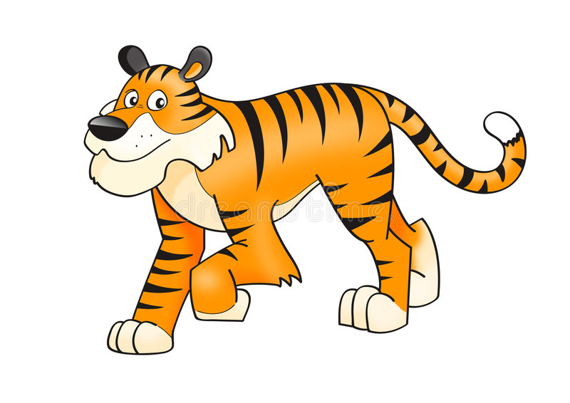 Tiger. Cute cartoon Tiger isolated on white