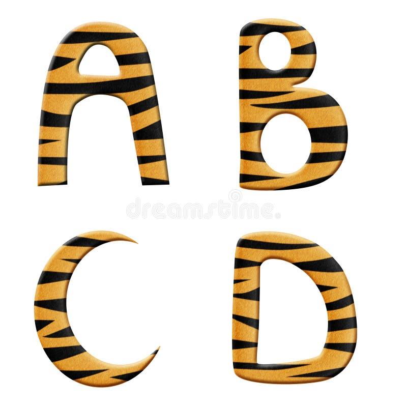 Tiger alphabet part 1 vector illustration