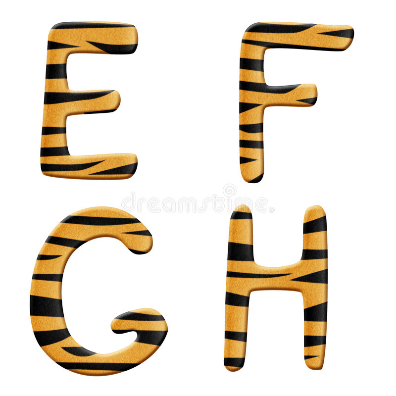 Tiger alphabet part 2 royalty free illustration