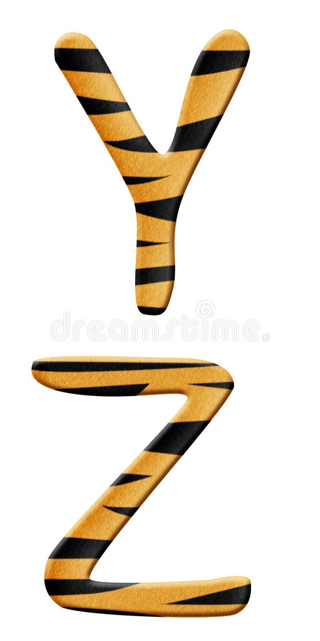 Tiger alphabet part 7 royalty free illustration