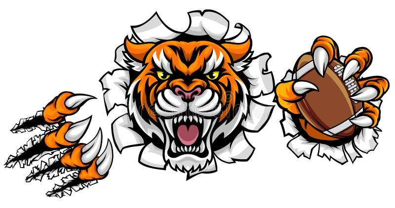 Tiger American Football Ball Breaking-Achtergrond royalty-vrije illustratie
