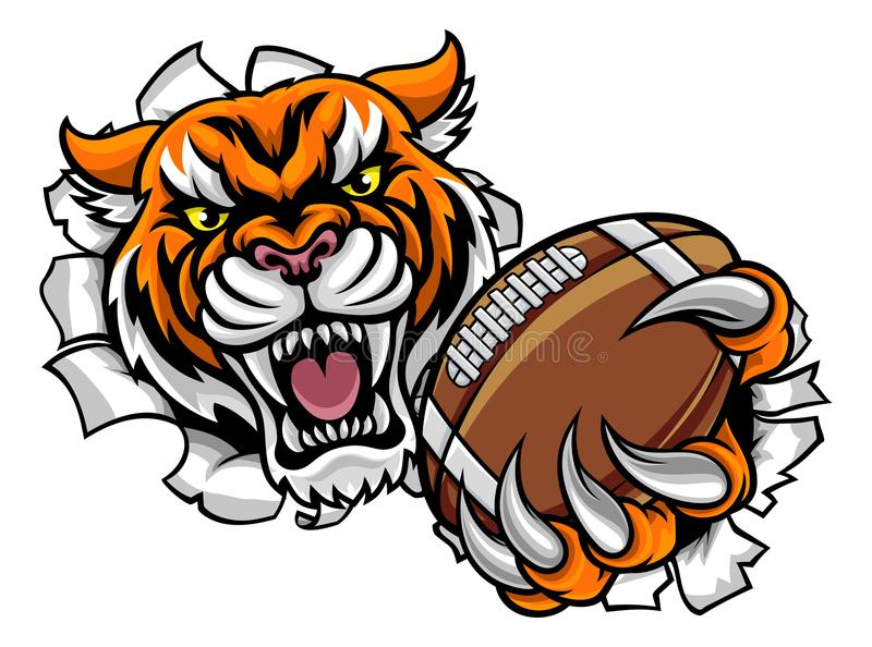 Tiger American Football Ball Breaking bakgrund vektor illustrationer