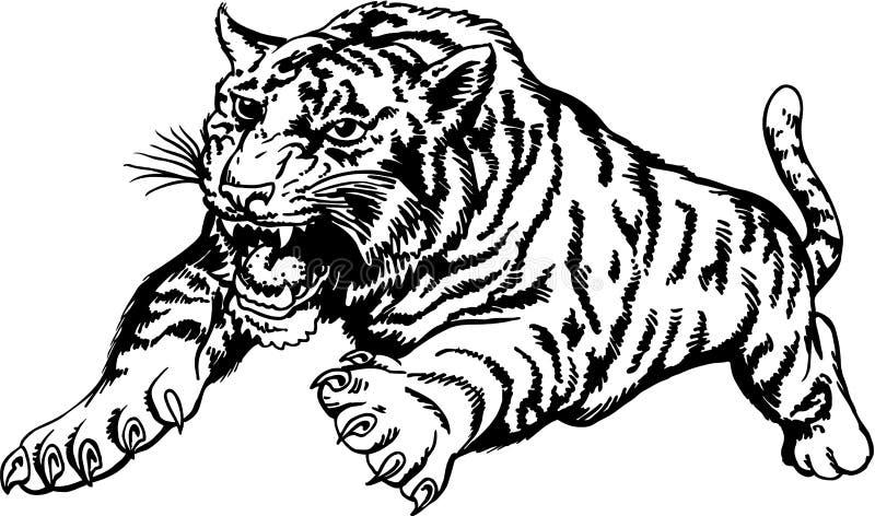 Tiger Attacking Vector Illustration stock illustratie