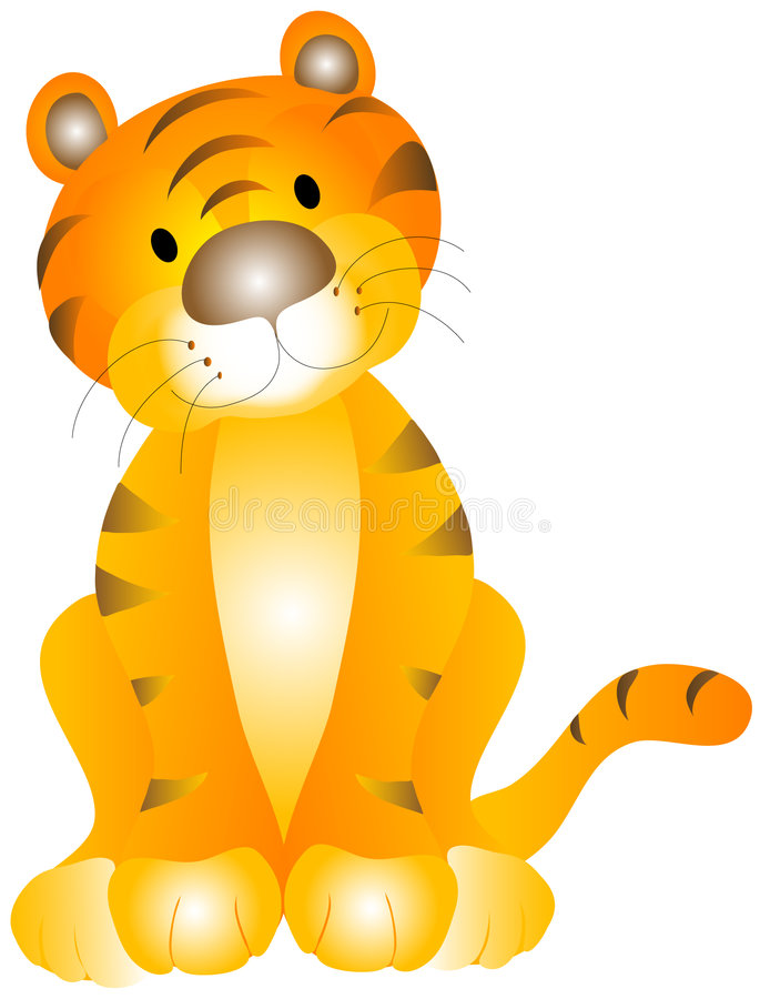 Tiger Baby. Tiger cub / kitten illustration over a white background
