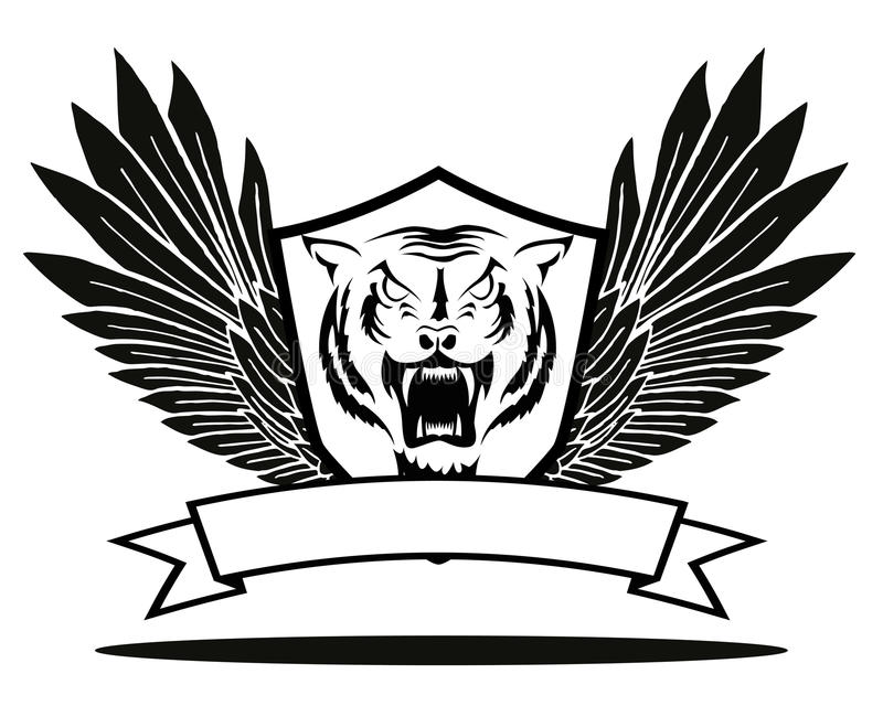 Tiger badge with wings royalty free illustration