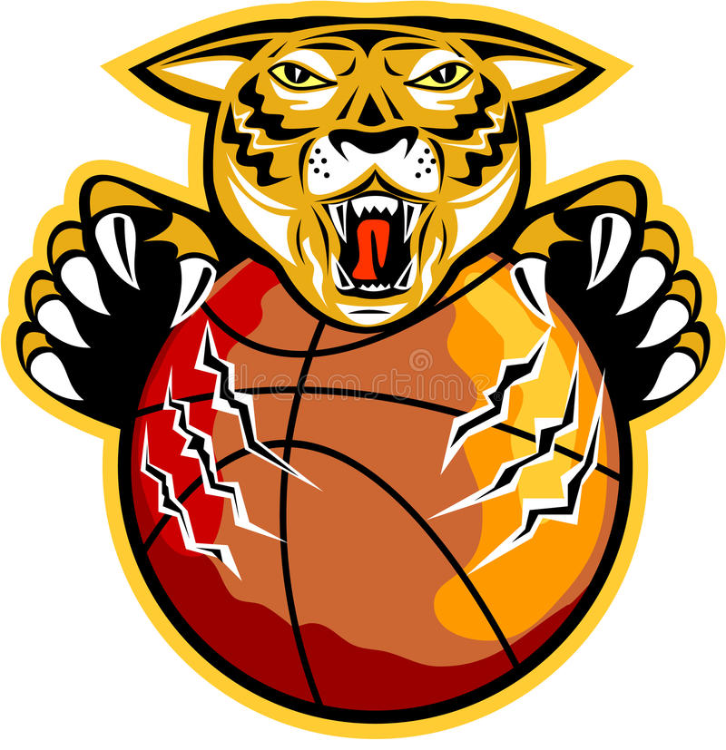 Tiger Basketball Ball Claws stock illustration