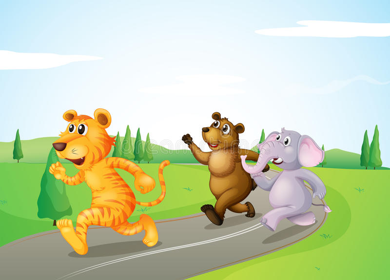 Download A Tiger, A Bear And An Elephant Running Along The Road Stock Vector - Image: 33315379