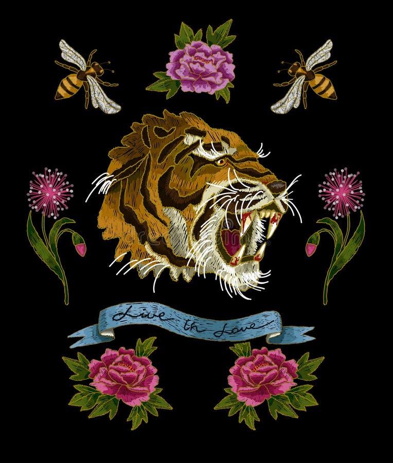 Tiger-, Bienen- und Pfingstrosenblumenstickereiflecken für Gewebe entwerfen vektor abbildung