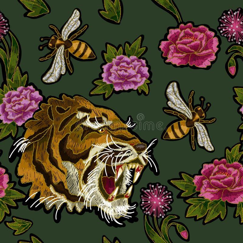 Tiger-, Bienen- und Pfingstrosenblumenstickereimuster für Gewebe entwerfen vektor abbildung