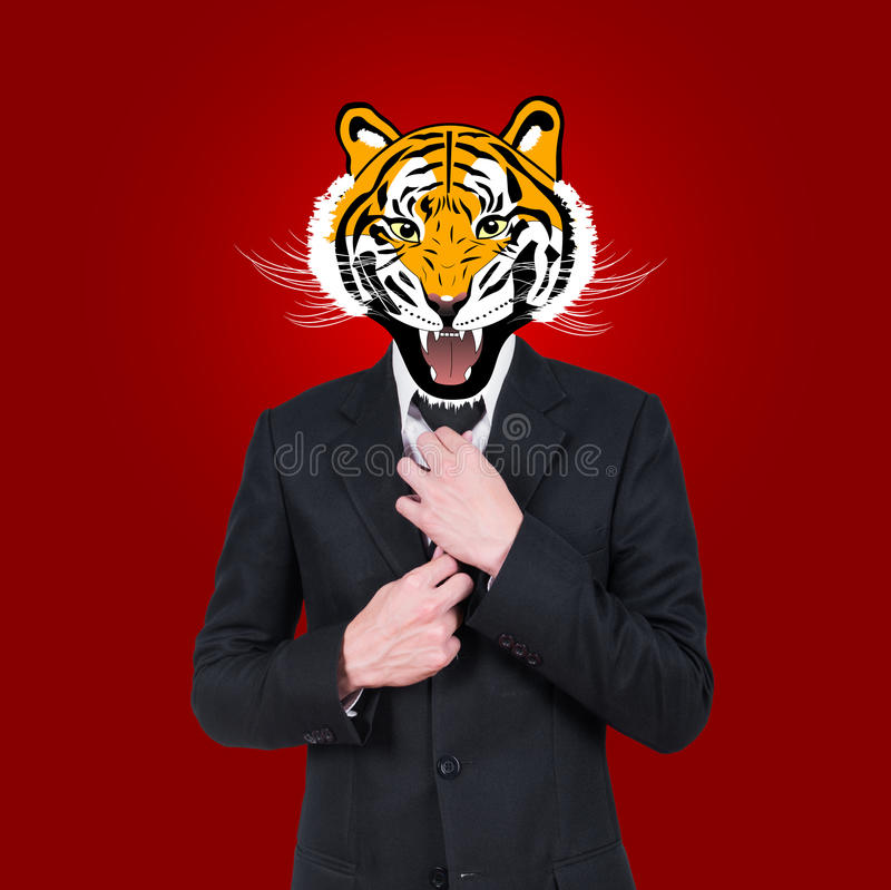 Tiger, businessman character design. On red background stock image