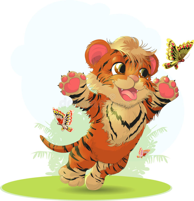 Tiger And Butterfly royalty-vrije illustratie