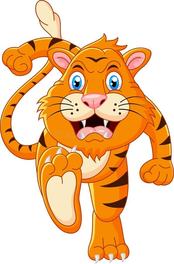 Tiger cartoon running. Illustration of Tiger cartoon running vector illustration